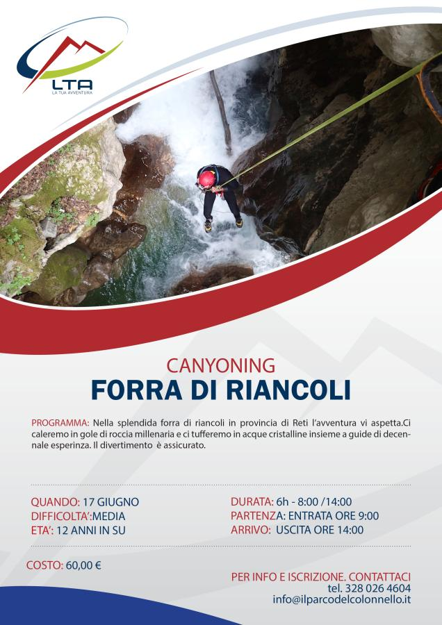 Canyoning Forra di Riancoli 17/06/2018