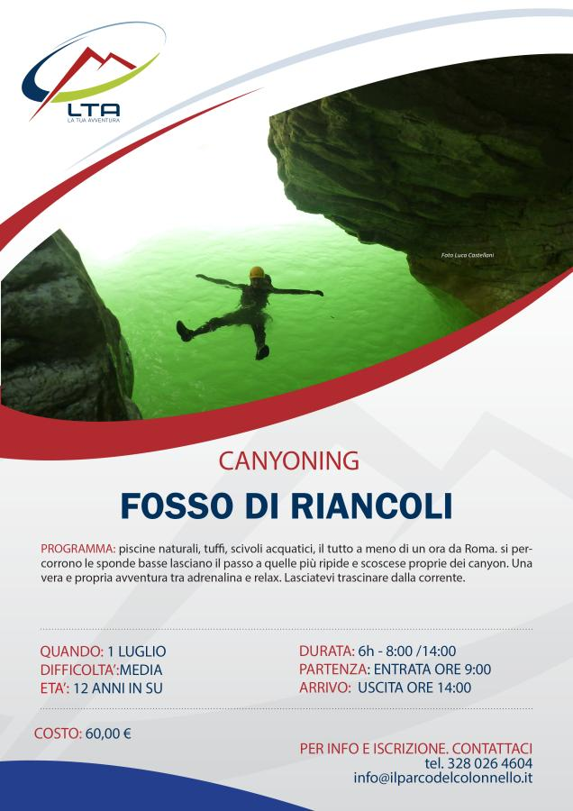 Canyoning Fosso Riancoli 01/07/2018
