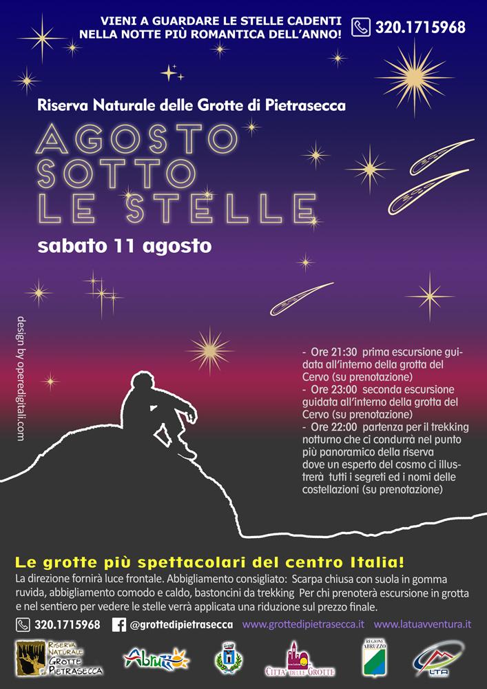 Locandina Agosto Sotto le Stelle 2018 nella Riserva di Pietrasecca (AQ)