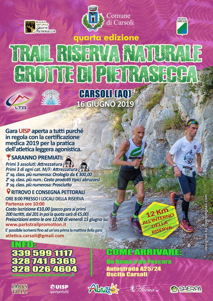 Locandina del Trail 2019 della Riserva Naturale delle Grotte di Pietrasecca (AQ)
